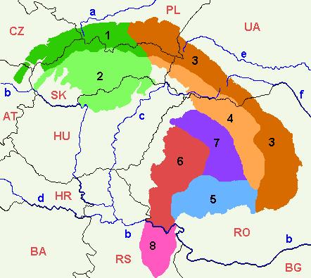 Карта Карпаты