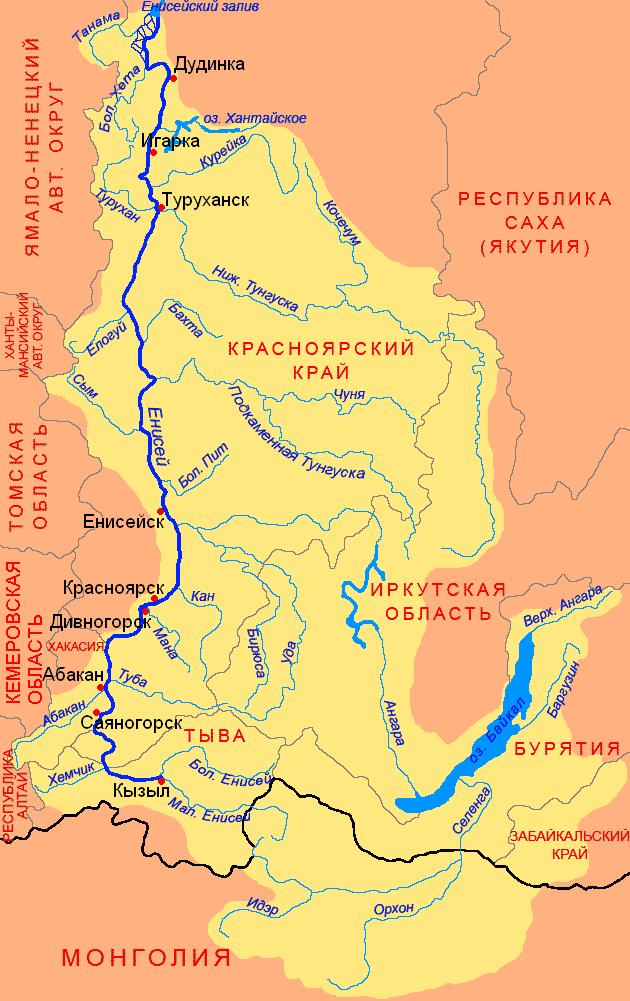 Енисей карта