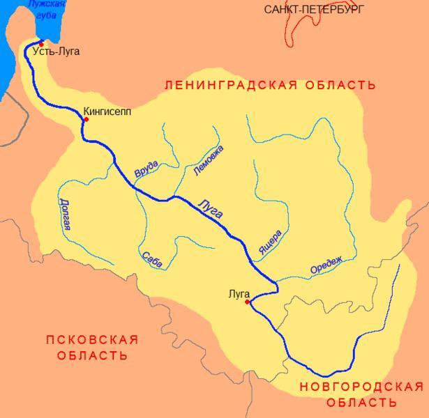 Река Луга на карте