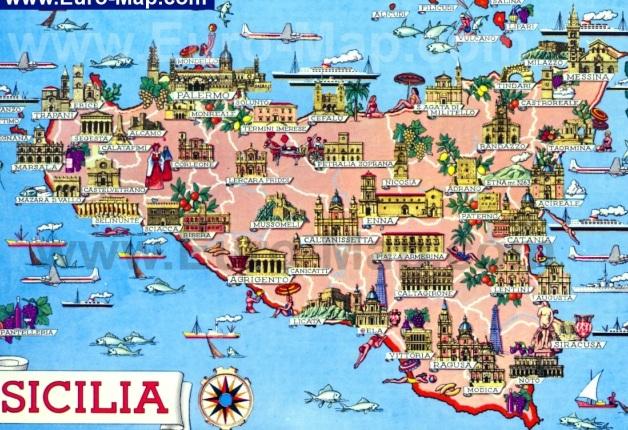 Туритсическая карта Сицилии