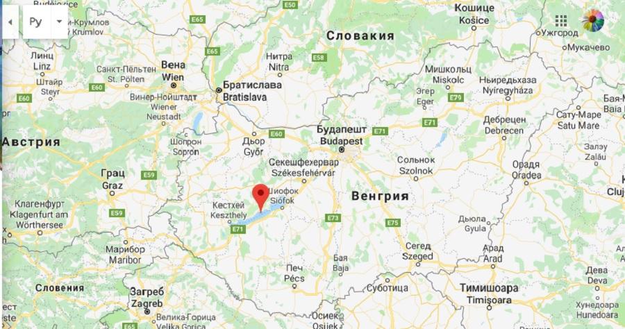 Озеро Балатон на карте - на русском языке