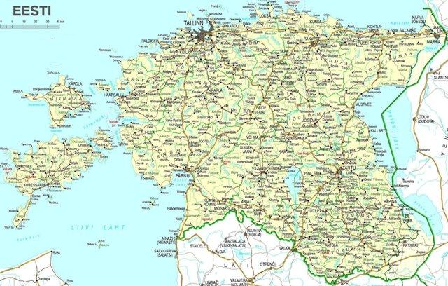 Подробная географическая карта Эстонии.