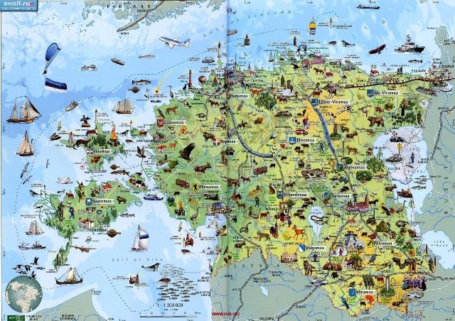 Туристическая карта Эстонии с достопримечательностями.