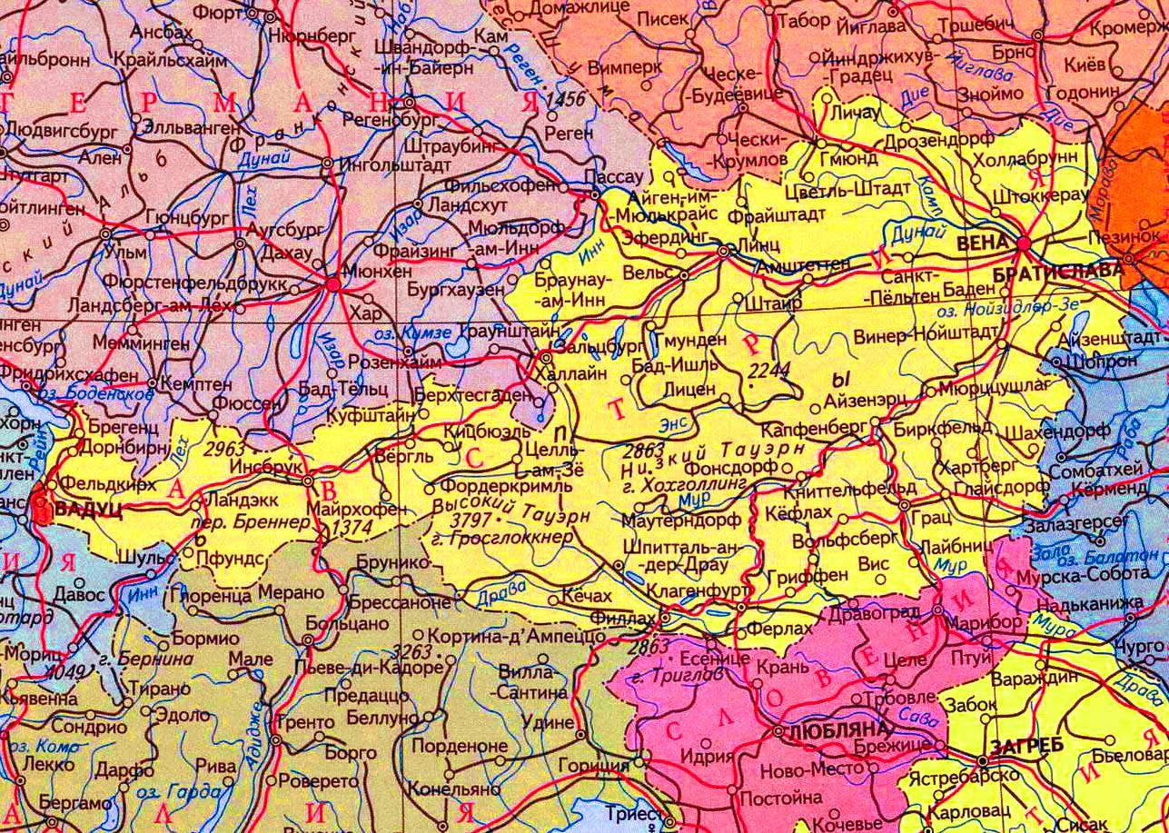 Karta Avstrii Na Russkom Yazyke S Gorodami Gde Avstriya Nahoditsya