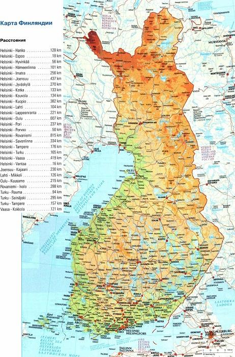 Большая и подробная карта дорог Финляндии.