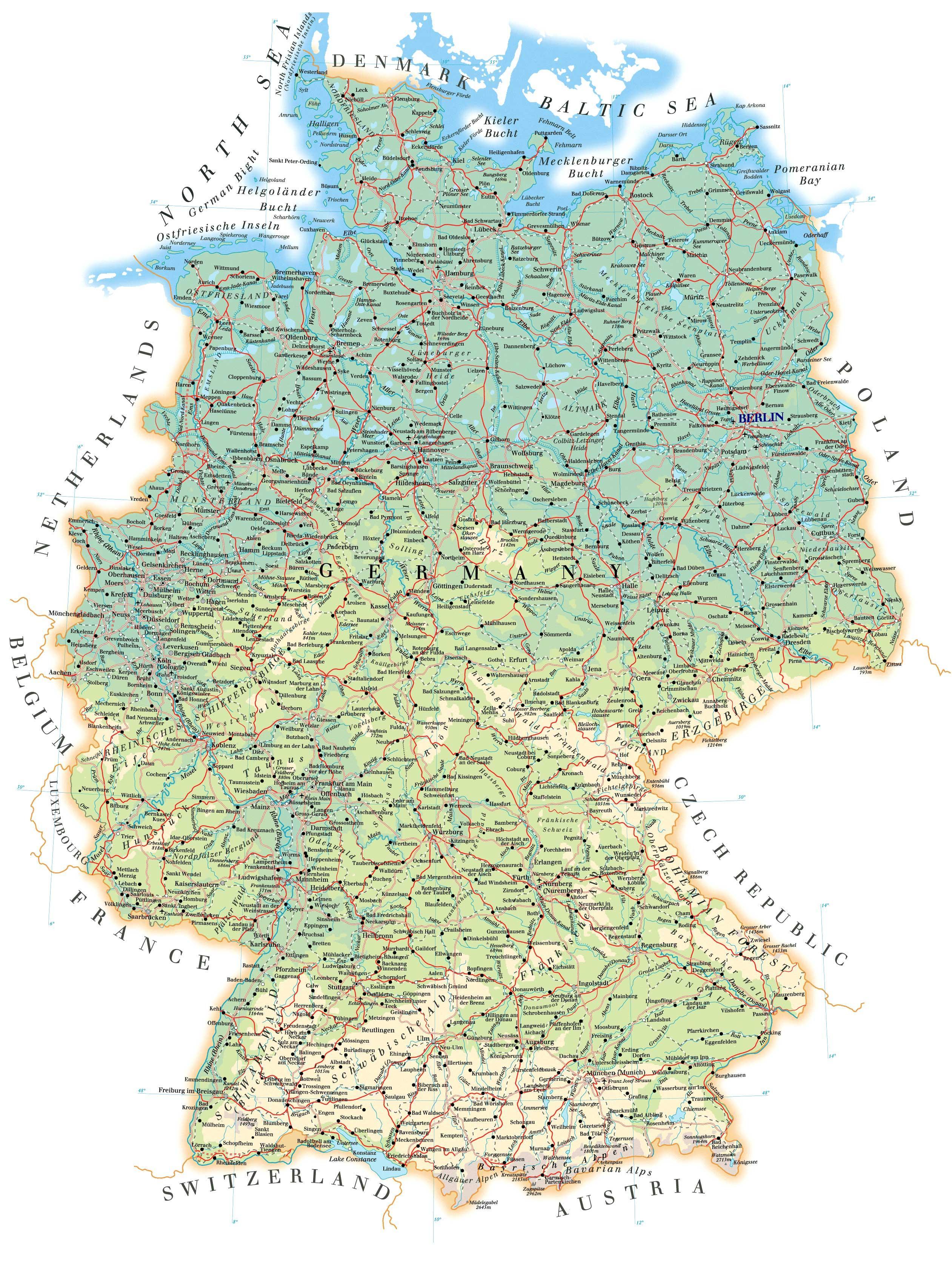 Podrobnaya Karta Germanii Na Russkom Yazyke S Gorodami Politicheskaya