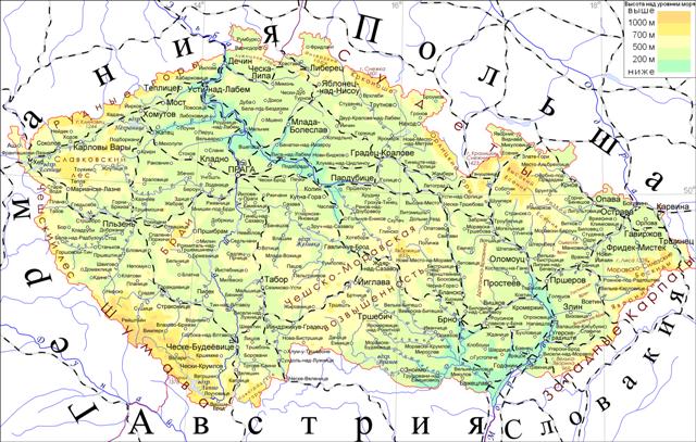 Подробная карта Чехии на русском языке