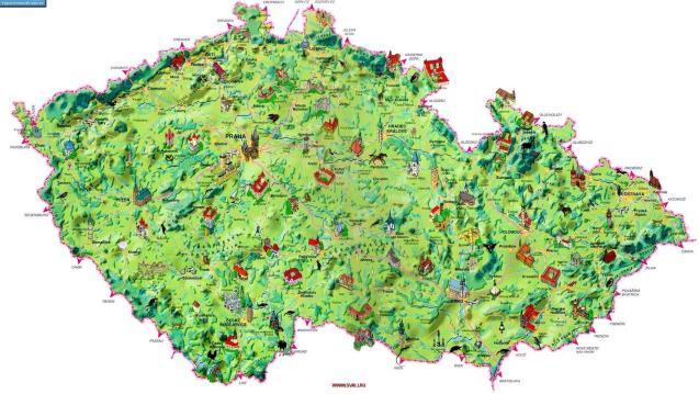 Карта Чехии с достопримечательностями.
