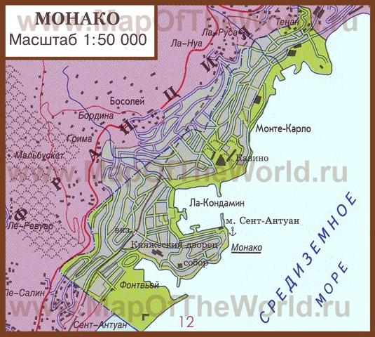 Карта Монако на русском языке. Монако на карте мира.