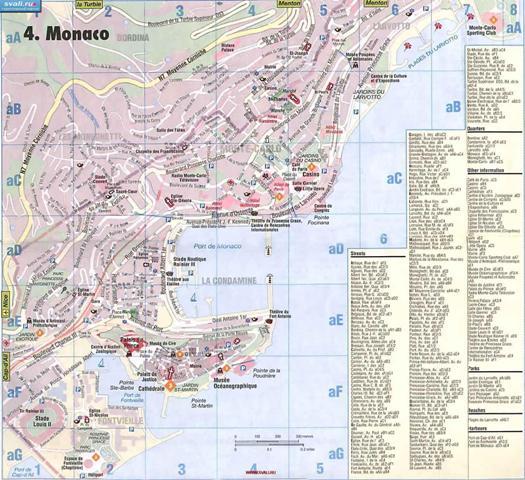 Карта Монако на русском языке.