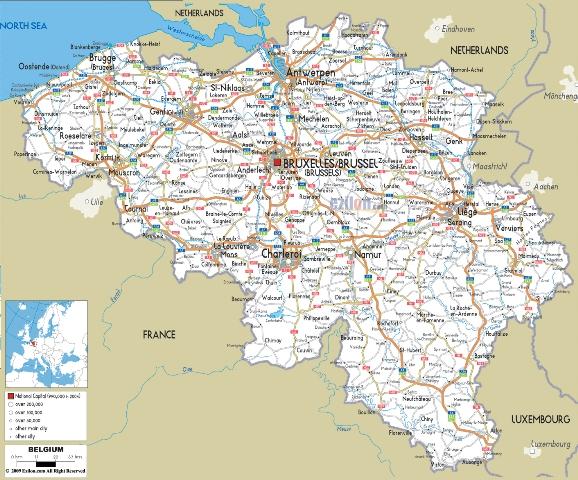 карта Бельгии на русском языке