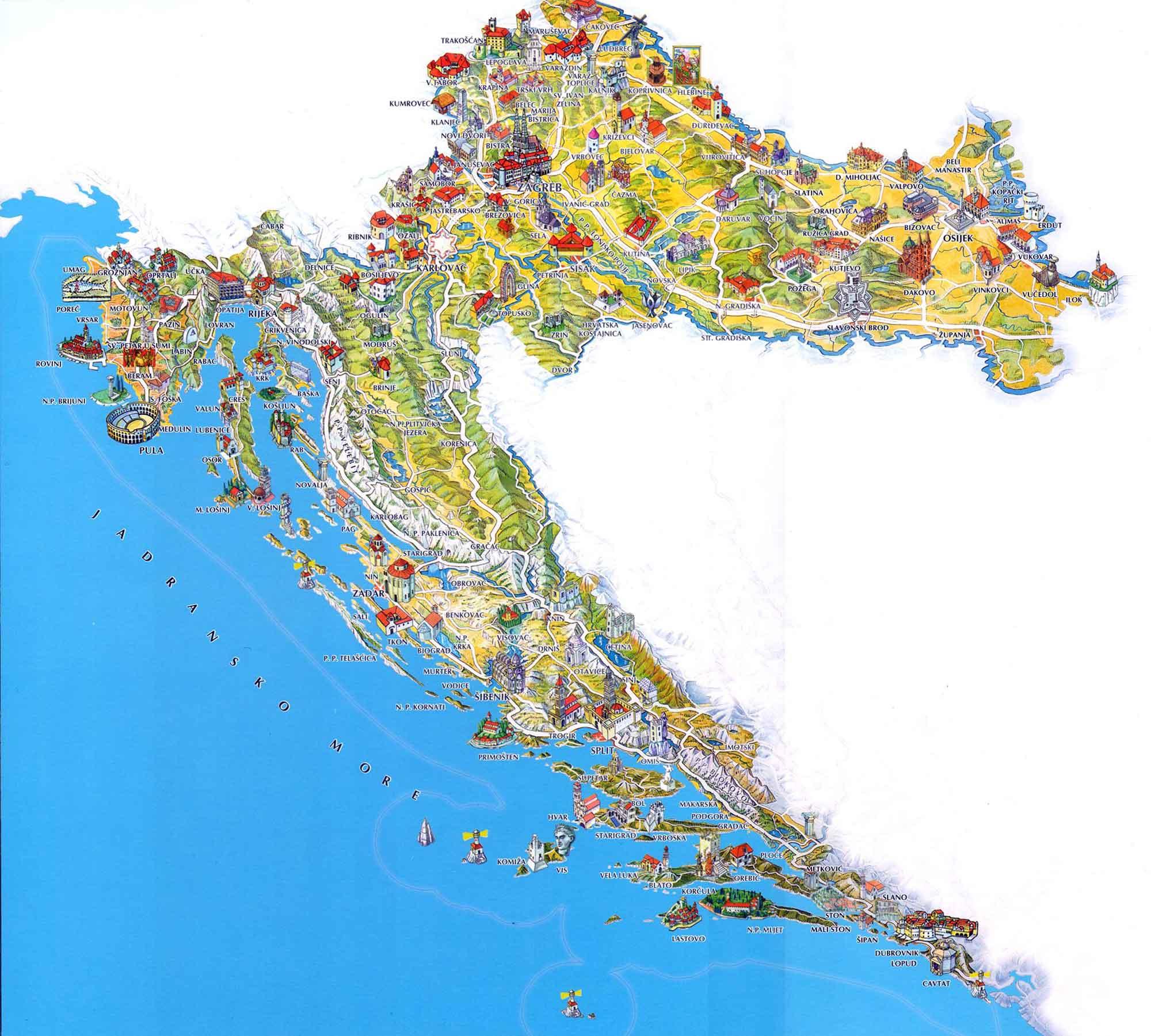Туристическая карта Хорватии с достопримечательностями, курортами и островами.