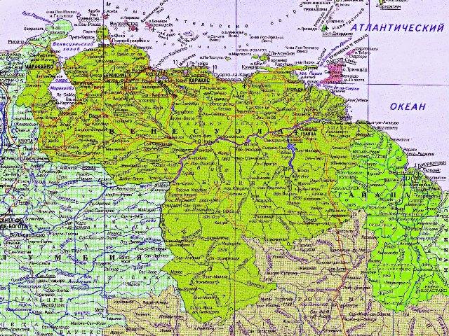 Карта Венесуэлы на русском языке.