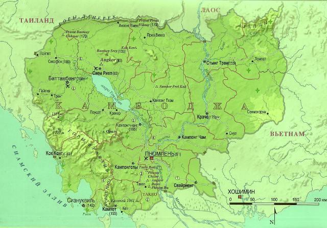 Карта Камбоджи на русском