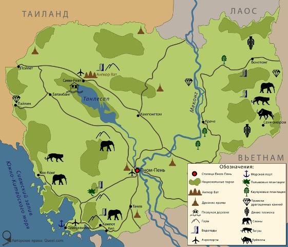 Карта Камбоджи на русском языке с достопримечательностями.