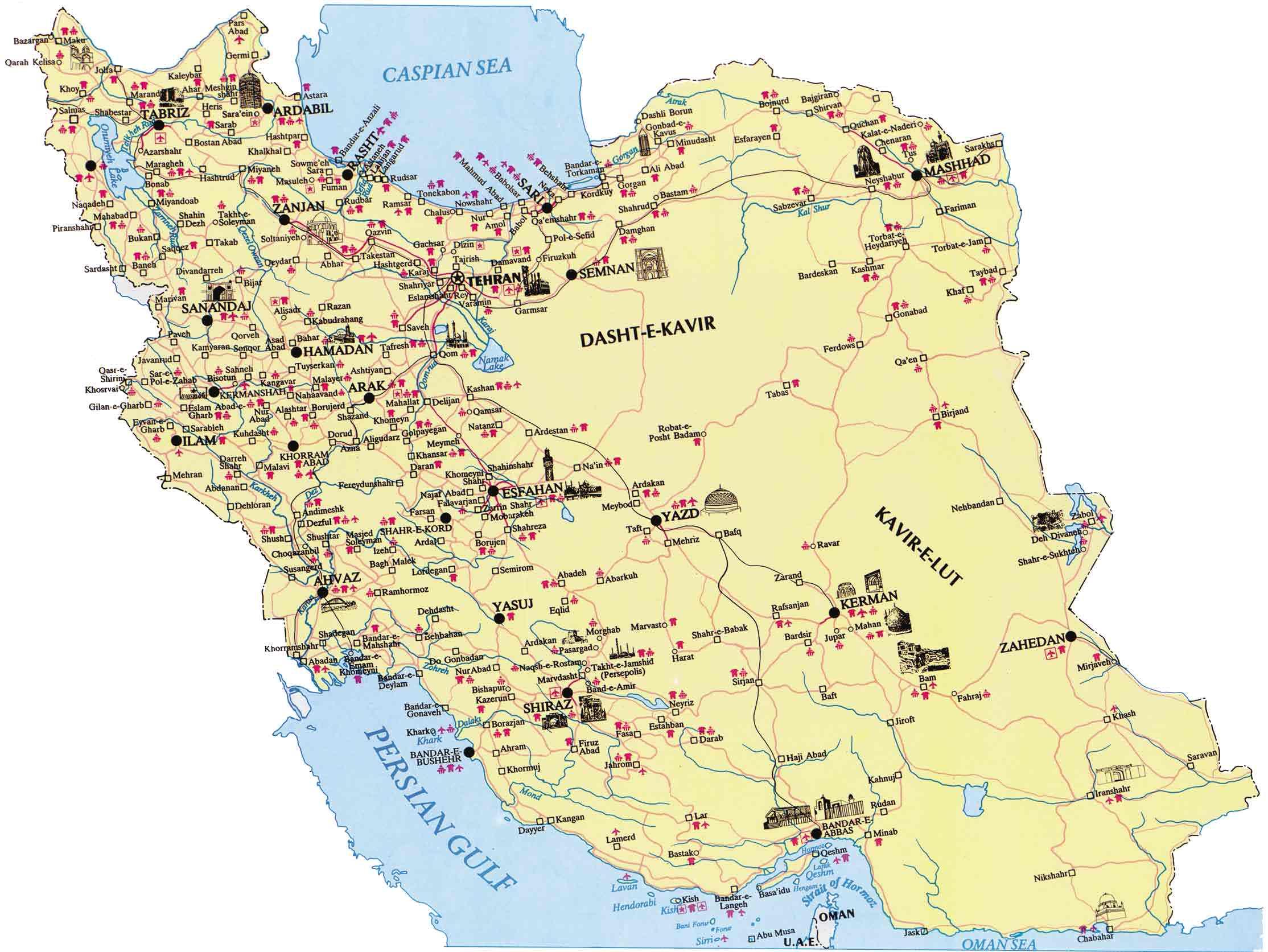 Иран на карте мира на русском языке