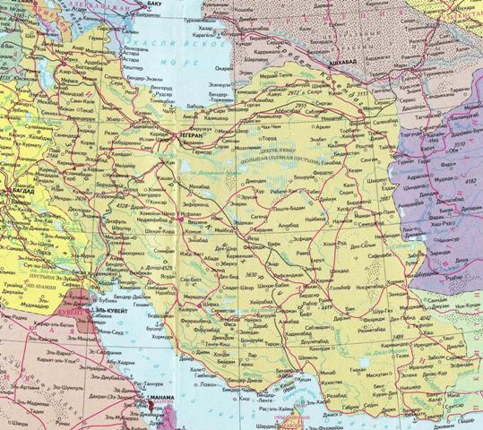 Карта Ирана на русском языке с городами.