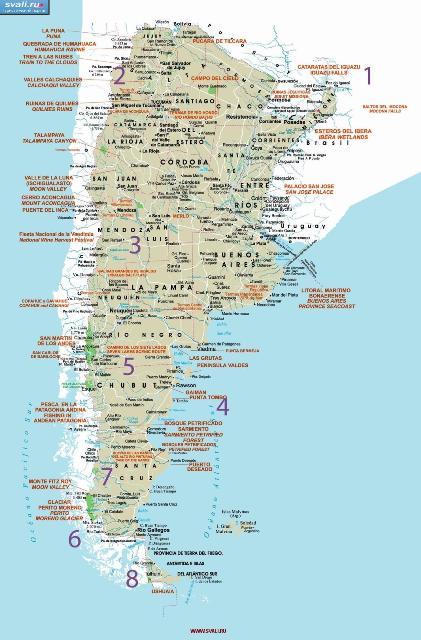 Подробная туристическая карта Аргентины.