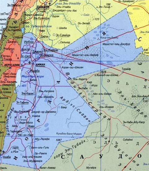 Карта Иордании на русском языке.