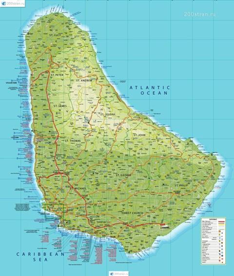 карта Барбадоса