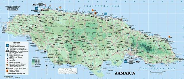 Карта Ямайки. Где находится Ямайка на карте мира.