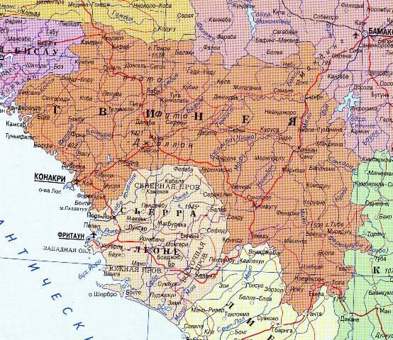 Карта Гвинеи.