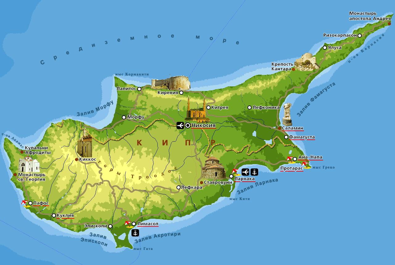Карта острова Кипр с достопримечательностями.