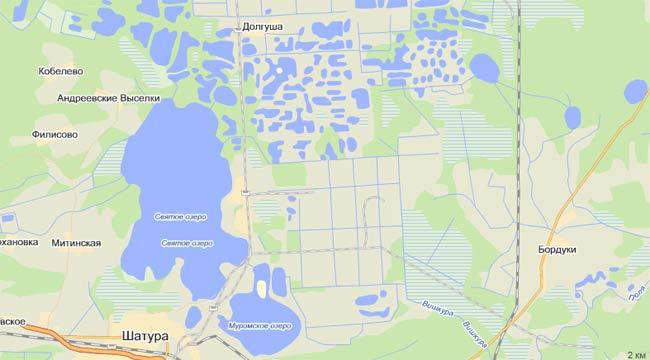 Шатурские озера на карте