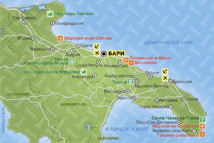 карта побережья Апулии