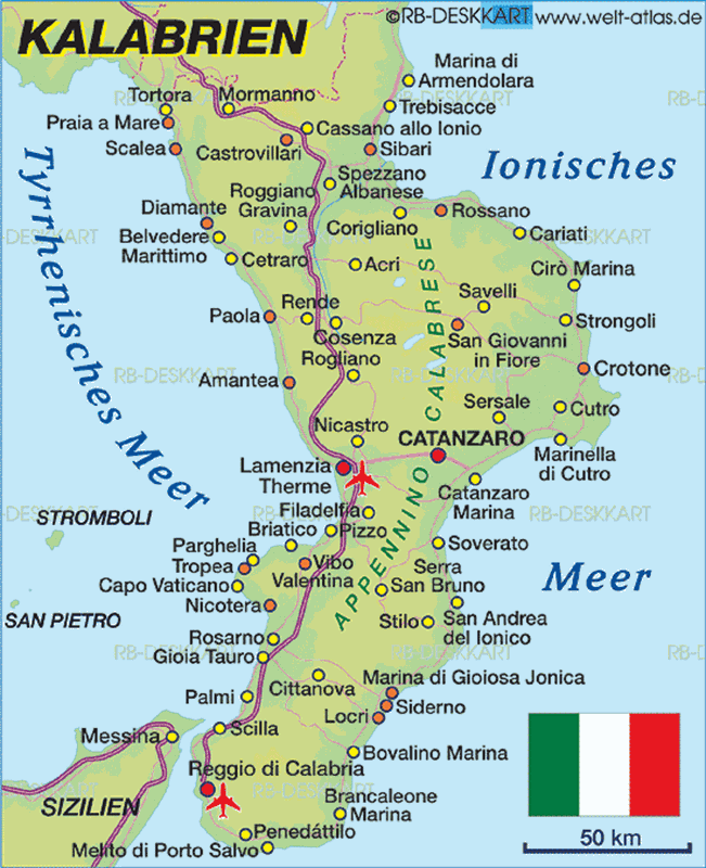 Карта побережья Калабрия