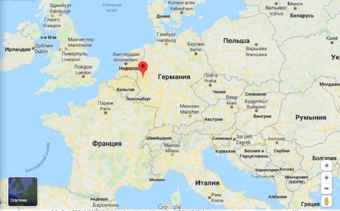 Дюссельдорф на карте Европы