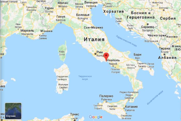 Город Гаэта на карте Италии и Европы