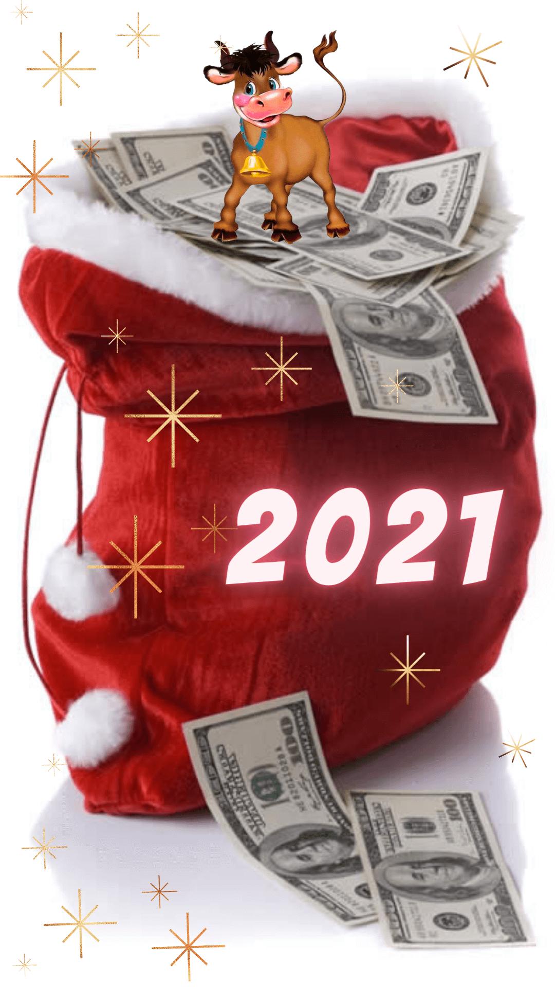 Новогодние заставки на телефон 2021 - прикольная картинка с баксами и бычком