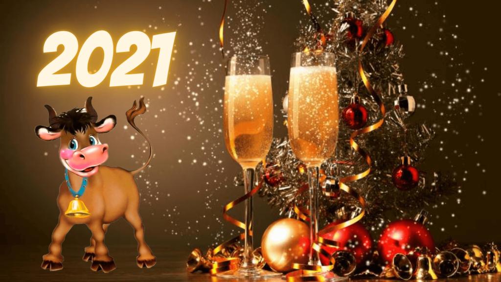 Новогодние обои 2021 - заставки на экран год Быка