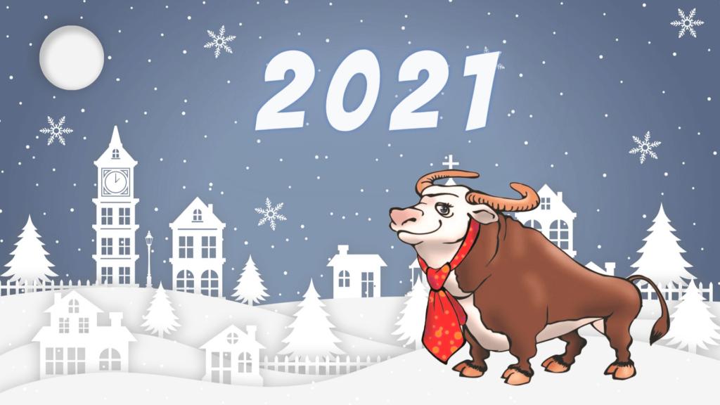Новогодние обои 2021 год Быка - красивые и милые